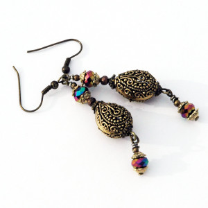 Arabesque Bead Earrings Teardrop Shape