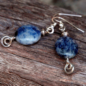Sodalite Earrings with Hand Hammered Accents