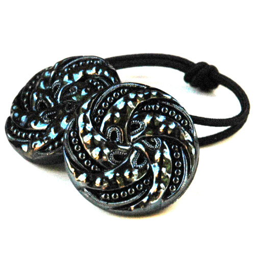 Gunmetal Glass Vintage Button Ponytail Holder