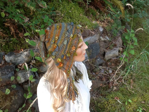 Handspun Yarn Beehive Knit Hat