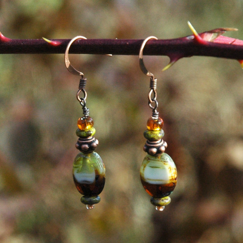 Czech Glass Earrings in Nature Tones Boho Style