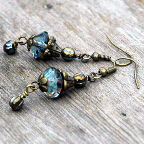 Genie Lantern Earrings in Iridescent Blue