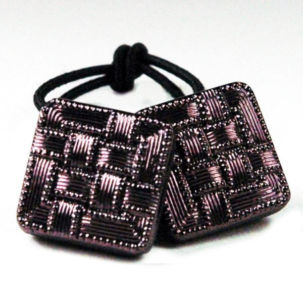 Basketweave-Pattern-Violet-Glass-Ponytail-Holder