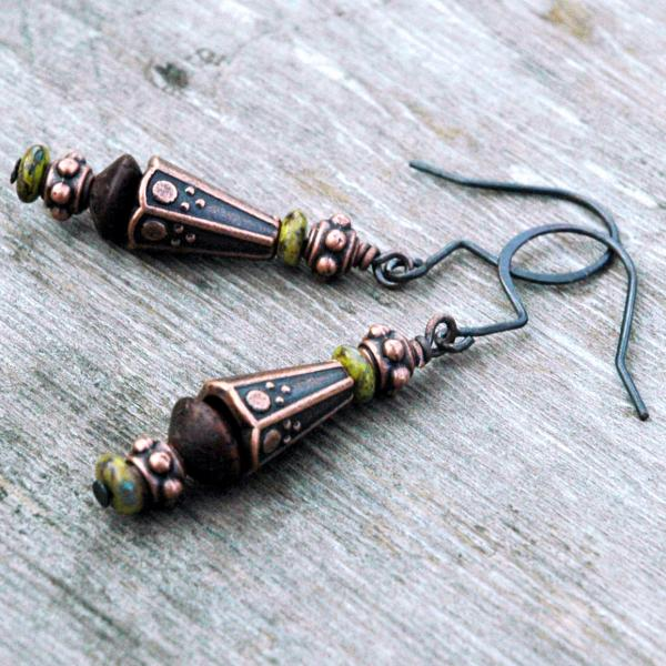 Gothic Style Wood and Copper Earrings