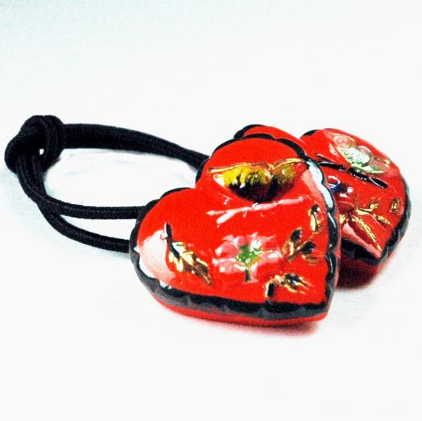 Red-Heart-Antique-Button-Ponytail-Holder