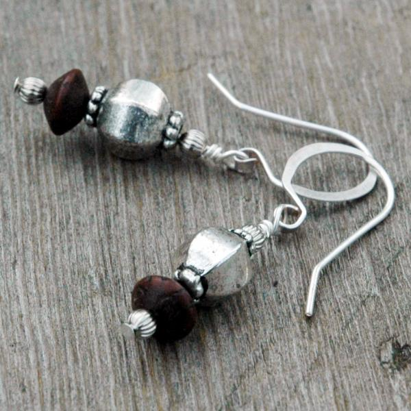 Silver and Wood Bead Earrings
