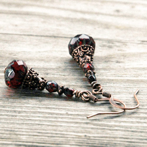Antique Copper dangly earrings with a variety of Czech glass beads in blues and reds.